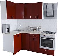 Готовая кухня Хоум Лайн Кристалл Люкс 1.2x2.1 (бургунский) -