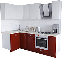 Готовая кухня Хоум Лайн Кристалл Люкс 1.2x2.4 (бургунский/белый) -