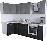 Готовая кухня Хоум Лайн Кристалл Люкс 1.2x2.7 (черный/серый пыльный) -