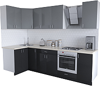 Готовая кухня Хоум Лайн Кристалл Люкс 1.2x2.8 (черный/серый пыльный) -
