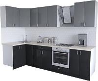 Готовая кухня Хоум Лайн Кристалл Люкс 1.2x3.0 (черный/серый пыльный) -