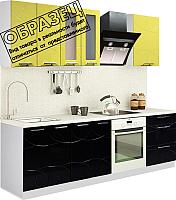 Готовая кухня Артём-Мебель Оля СН-114 1.4 со стеклом (глянец олива-черный) -
