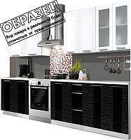 Готовая кухня Артём-Мебель Оля СН-114 1.4 со стеклом (глянец черно-белый) -