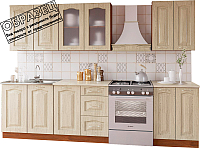 Готовая кухня Артём-Мебель Оля СН-114 со стеклом МДФ 1.6 (дуб беленый) -