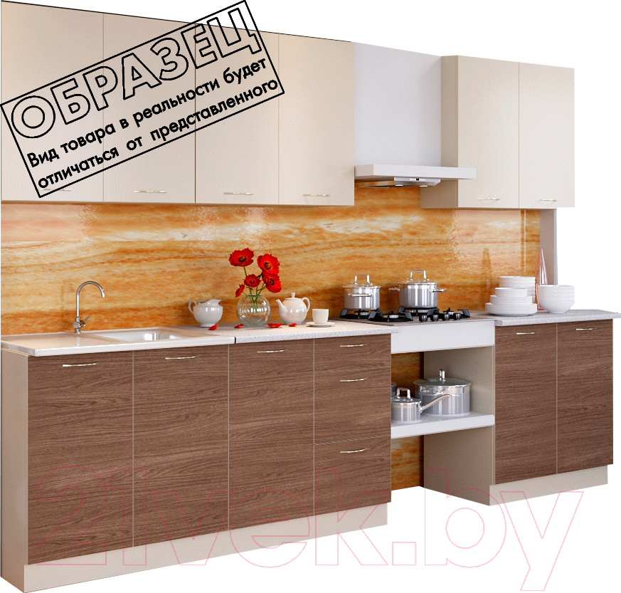 Купить Готовая кухня Артём-Мебель, Оля СН-114 ДСП 2.0м (ваниль/ясень темный), Беларусь