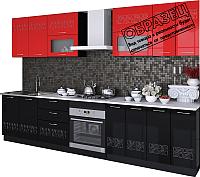Готовая кухня Артём-Мебель Адель со стеклом МДФ глянец 2.4м (красный/черный глянец) -