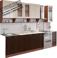 Готовая кухня Артём-Мебель Дарина со стеклом МДФ глянец 2.6м (ваниль глянец/венге темный) -