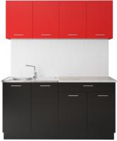 Готовая кухня Артём-Мебель Лана без стекла ДСП 1.6м (красный/черный) -