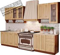 Готовая кухня Артём-Мебель Дарина со стеклом МДФ 1.4м (лиственница) -