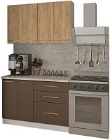 Готовая кухня Кастанье Марта 1.2 (дуб крафт золотой матовый/коричневый софт матовый) -