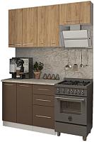 Готовая кухня Кастанье Марта 1.5 (дуб крафт золотой матовый/коричневый софт матовый) -