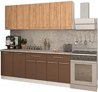 Готовая кухня Кастанье Марта 2.0 (дуб крафт золотой матовый/коричневый софт матовый) -