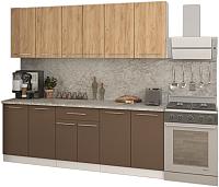Готовая кухня Кастанье Марта 2.2 (дуб крафт золотой матовый/коричневый софт матовый) -
