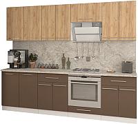 Готовая кухня Кастанье Марта 2.6 (дуб крафт золотой матовый/коричневый софт матовый) -
