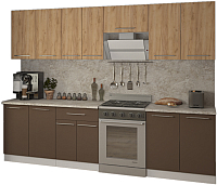 Готовая кухня Кастанье Марта 2.8 (дуб крафт золотой матовый/коричневый софт матовый) -