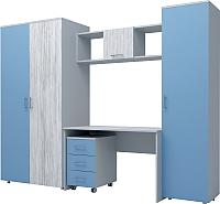 Комплект мебели для жилой комнаты Иволанд Трейд №7 (артвуд светлый/капри синий) -