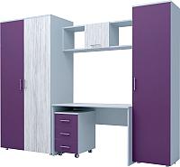 Комплект мебели для жилой комнаты Иволанд Трейд №8 (артвуд светлый/виола) -