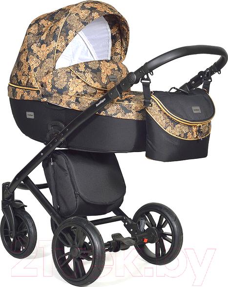 Купить Детская универсальная коляска INDIGO, Marco Art 2 в 1 (Mr 07, черный узор/черный/золотая кожа), Польша