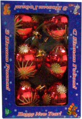 Набор ёлочных игрушек Mag 2000 032570 (красный, 6 шт) - общий вид