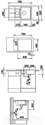 Мойка кухонная Blanco Metra 6 S Compact / 513470 - габаритные размеры