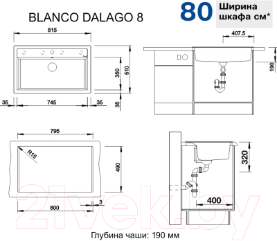 Мойка кухонная Blanco Dalago 8 / 518852