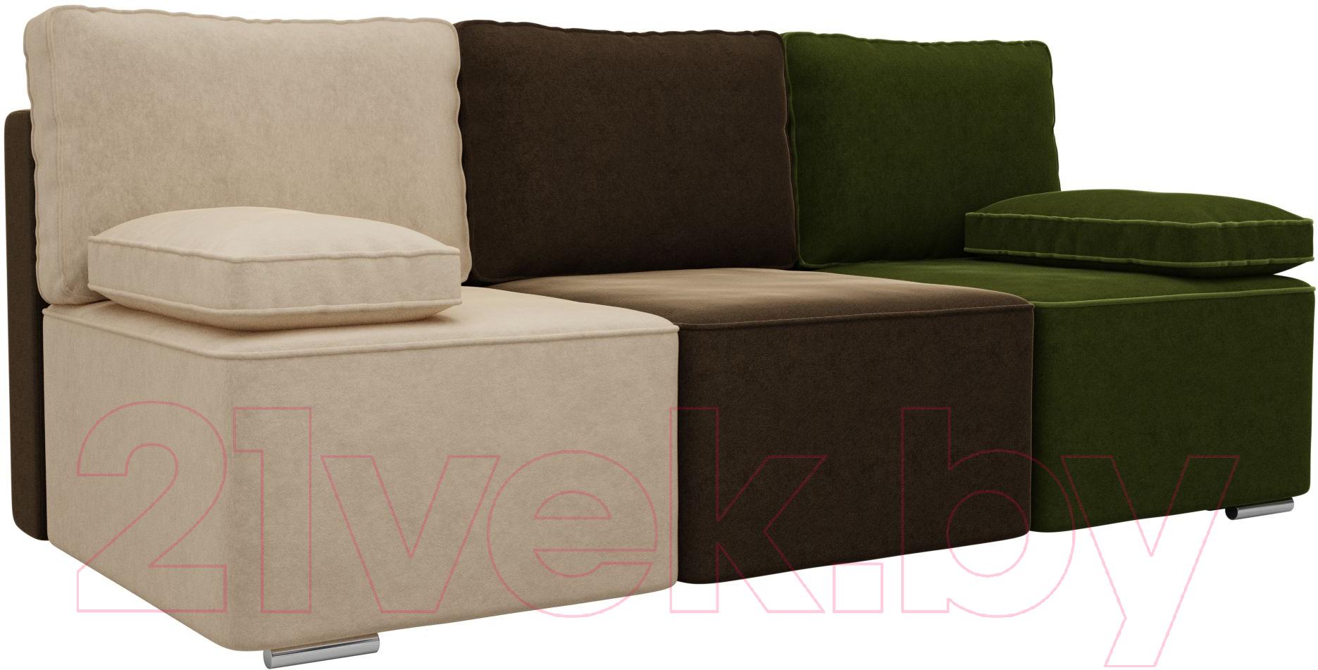 Купить Диван Mio Tesoro, Пескара 180 (микровельвет, бежевый/коричневый/зеленый), Китай