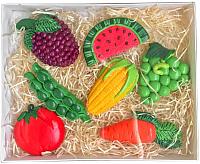 Набор магнитов сувенирных Нашы майстры Фрукты-овощи / H15 (белый) -