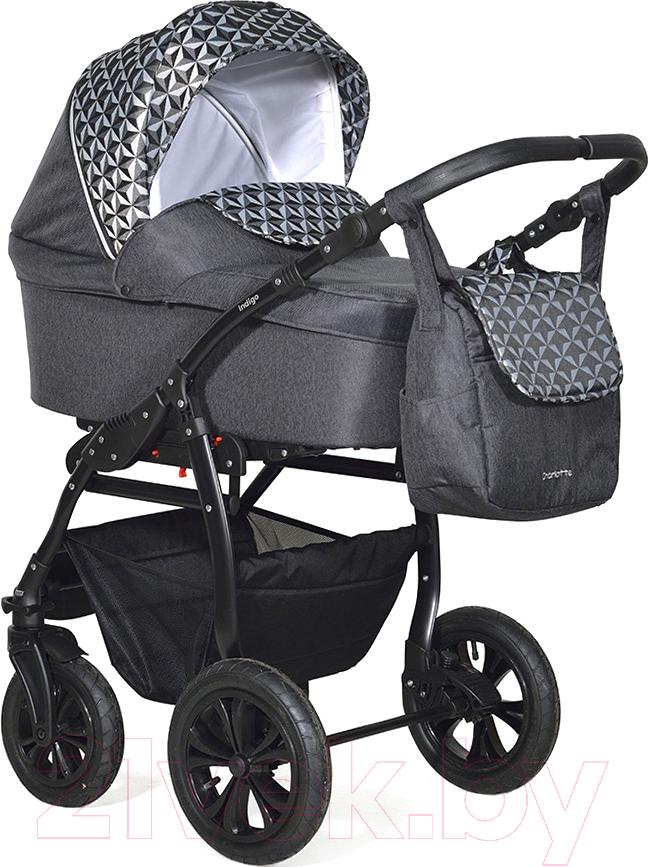 Купить Детская универсальная коляска INDIGO, Charlotte 18 F 3 в 1 (ch 38, черный/черный узор), Польша