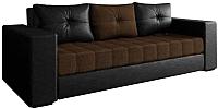 Диван Настоящая мебель Константин экокожа/рогожка комбинированная (черный/коричневый) -