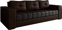 Диван Настоящая мебель Константин экокожа/вельвет (коричневый/черный) -
