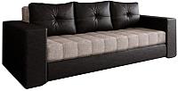 Диван Настоящая мебель Константин экокожа/рогожка комбинированная (черный/бежевый) -