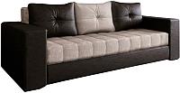 Диван Настоящая мебель Константин экокожа/рогожка комбинированная 2 (черный/бежевый) -