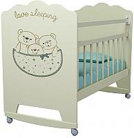 Детская кроватка VDK Love Sleeping колесо-качалка (слоновая кость) -