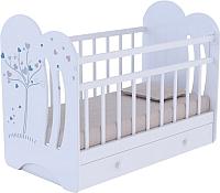 Детская кроватка VDK Wind Tree с маятником и ящиком (белый) -