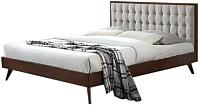 Двуспальная кровать Halmar Solomo 160x200  (бежевый/орех) -