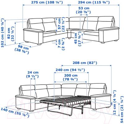 Диван угловой Ikea Лидгульт 692.661.82