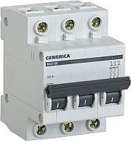 Выключатель автоматический Generica ВА 47-29 3Р 20А 4.5кА / MVA25-3-020-C -
