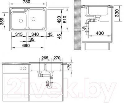 Мойка кухонная Blanco Classic 8 / 507543 - габаритные размеры