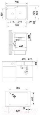 Мойка кухонная Blanco Classic 8-IF / 514641 - габаритные размеры
