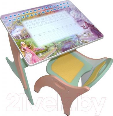Комплект мебели с детским столом Интехпроект Части света 14-384 (голубой и розовый) - общий вид