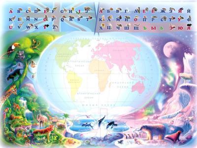 Комплект мебели с детским столом Интехпроект Части света 14-384 (голубой и розовый) - столешница