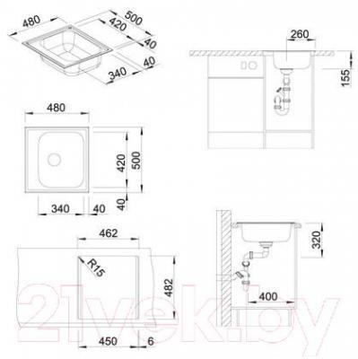 Мойка кухонная Blanco Livit 45 / 514785 - габаритные размеры