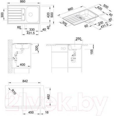 Мойка кухонная Blanco Livit 45 S / 514788 - габаритные размеры