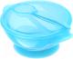 Тарелка для кормления Happy Care На присоске с крышкой и ложкой / 0611 (голубой) -