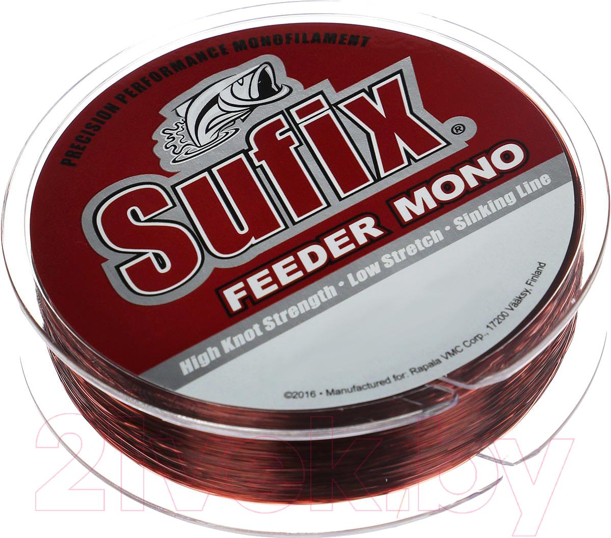 Купить Леска монофильная Sufix, Feeder Mono 0.25мм / SFM25BU300 (300м, красный), Финляндия, бордовый