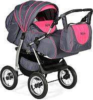 Детская универсальная коляска INDIGO Maximo (Ma 14, темно-графитовый/малиновый) -