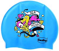 Шапочка для плавания Fashy Childrens Silicone Cap / 3047-00-75 (морской конек/ярко-голубой) -