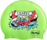 Шапочка для плавания Fashy Childrens Silicone Cap / 3047-00-60 (крабы/салатовый) -