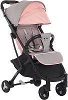 Детская прогулочная коляска Sundays Baby S600 Plus (черная база, розовый/серый) -