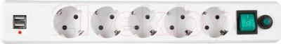 Сетевой фильтр Гарнизон EHW-6-USB (белый) - общий вид